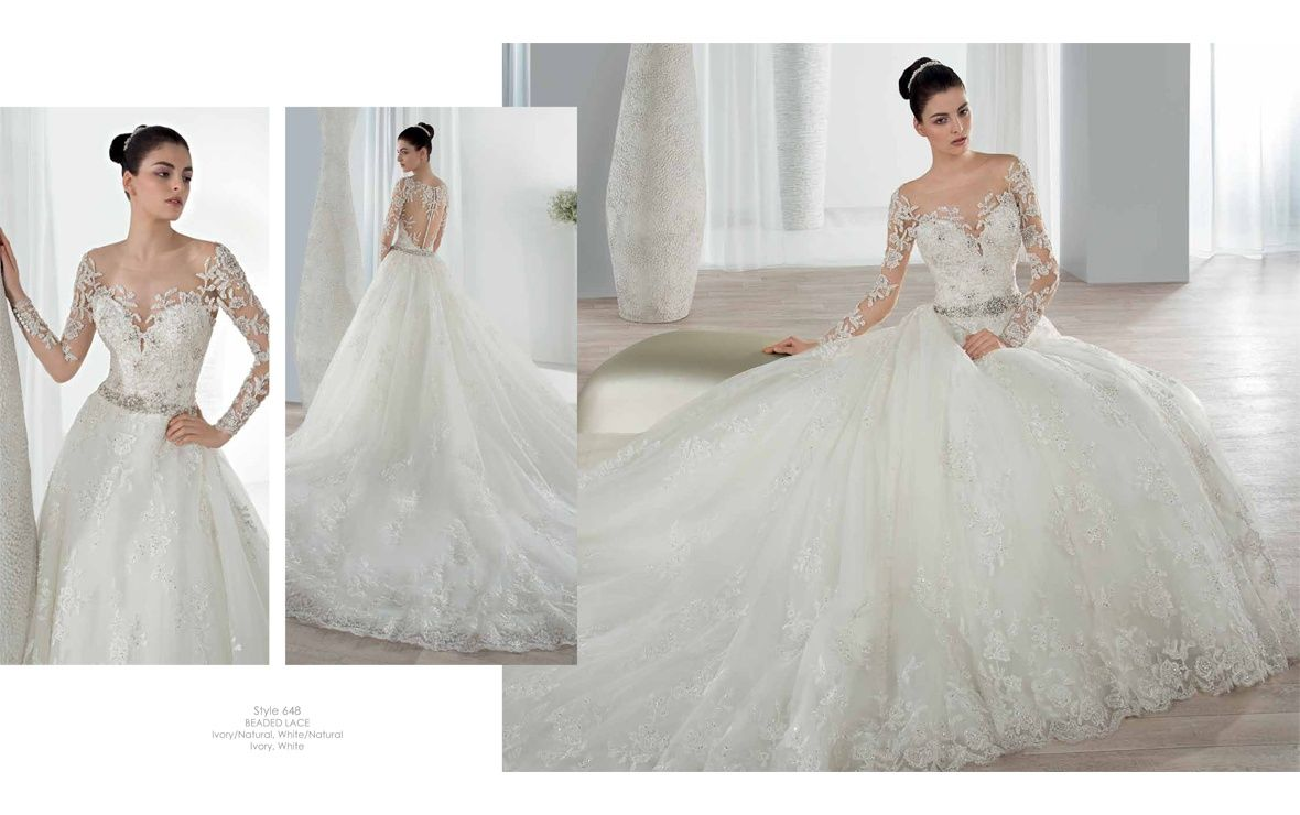 This romantic beaded lace ball gown features an illusion scoop this romantic beaded lace ball gown features an illusion scoop neckline with sheer embellished long sleeves junglespirit Choice Image