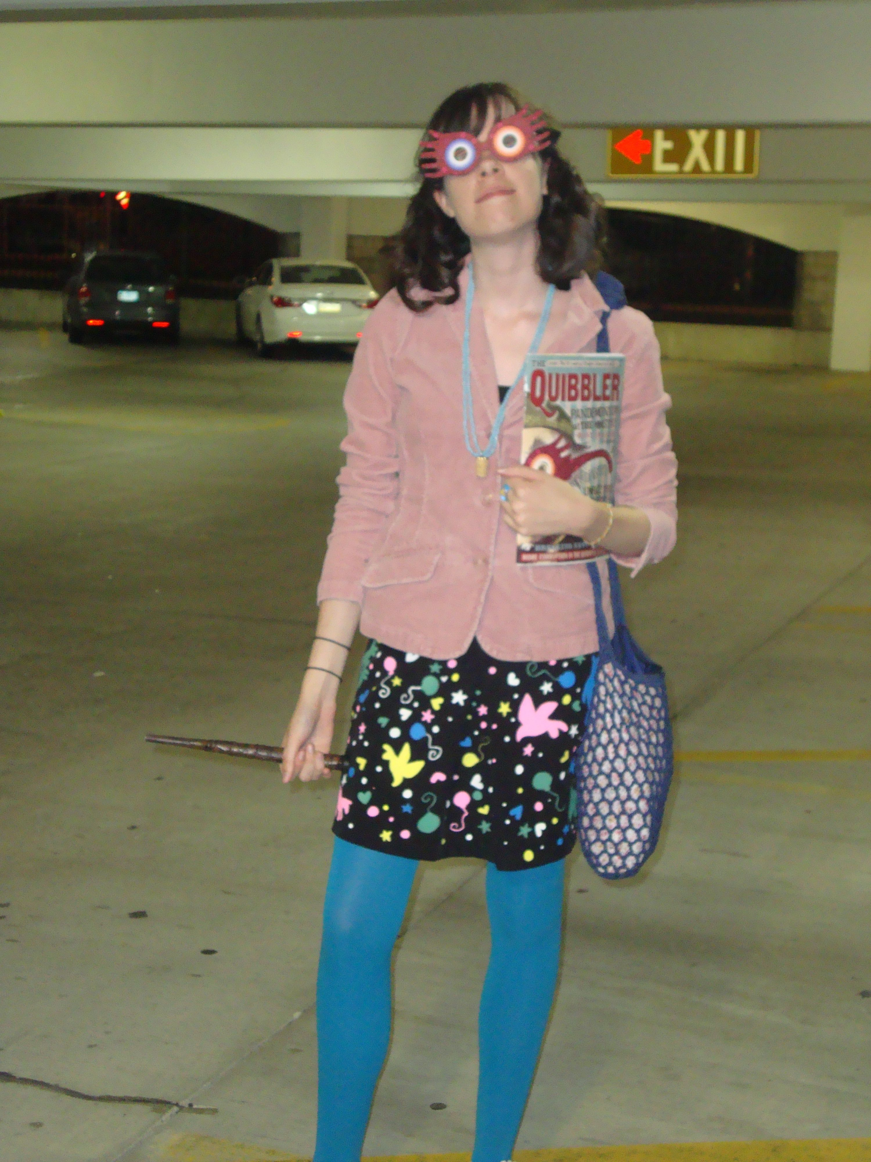 My Luna Lovegood Costume For The Deathly Hallows Pt 2 Midnight Premiere Hand Painted Skirt Quibbler Cover And Sp With Images Luna Lovegood Costume Luna Lovegood Costumes