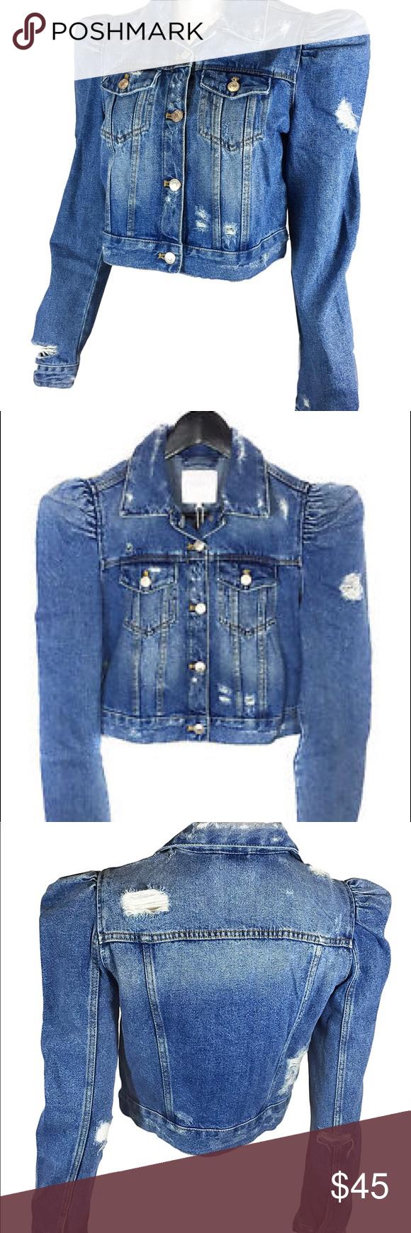 003fc180803 Zara Women's Denim Jacket With Puff Sleeves Zara trf denim ...