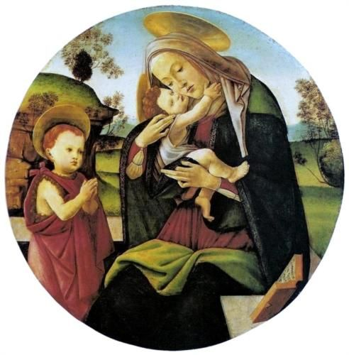 Virgin and Child with the Infant St. John the Baptist between - Sandro Botticelli