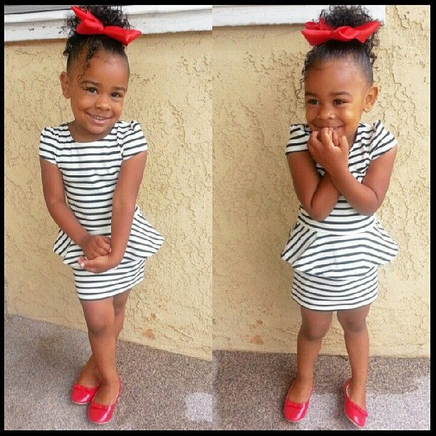 Mommy nailed it! peplum dress& tripes& red shoes with matching hair accessories. She looks gorgeous