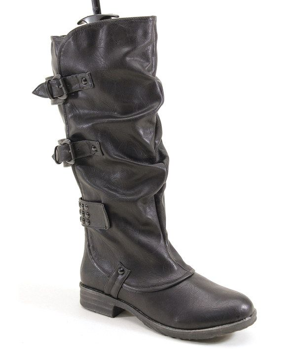 Take a look at this Black Ruffle Boot on zulily today!