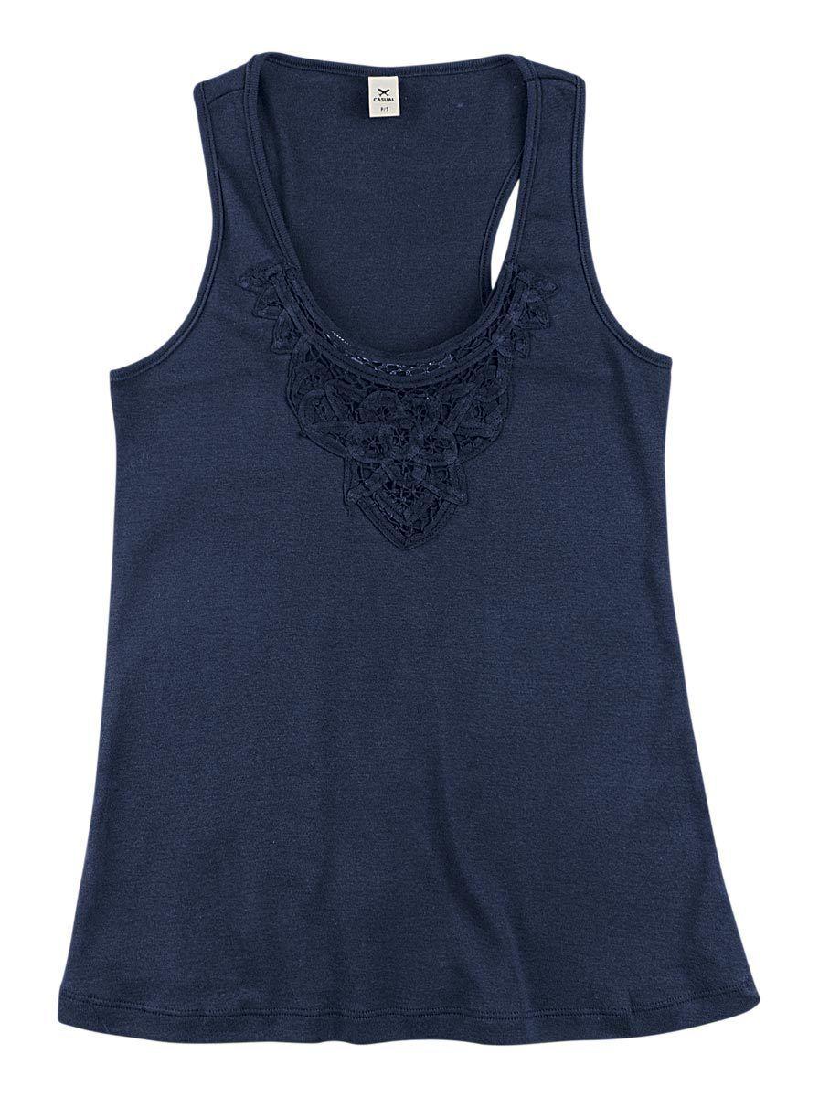 b91ba8f8d Regata feminina básica slim em malha algodão e renda na Hering ...