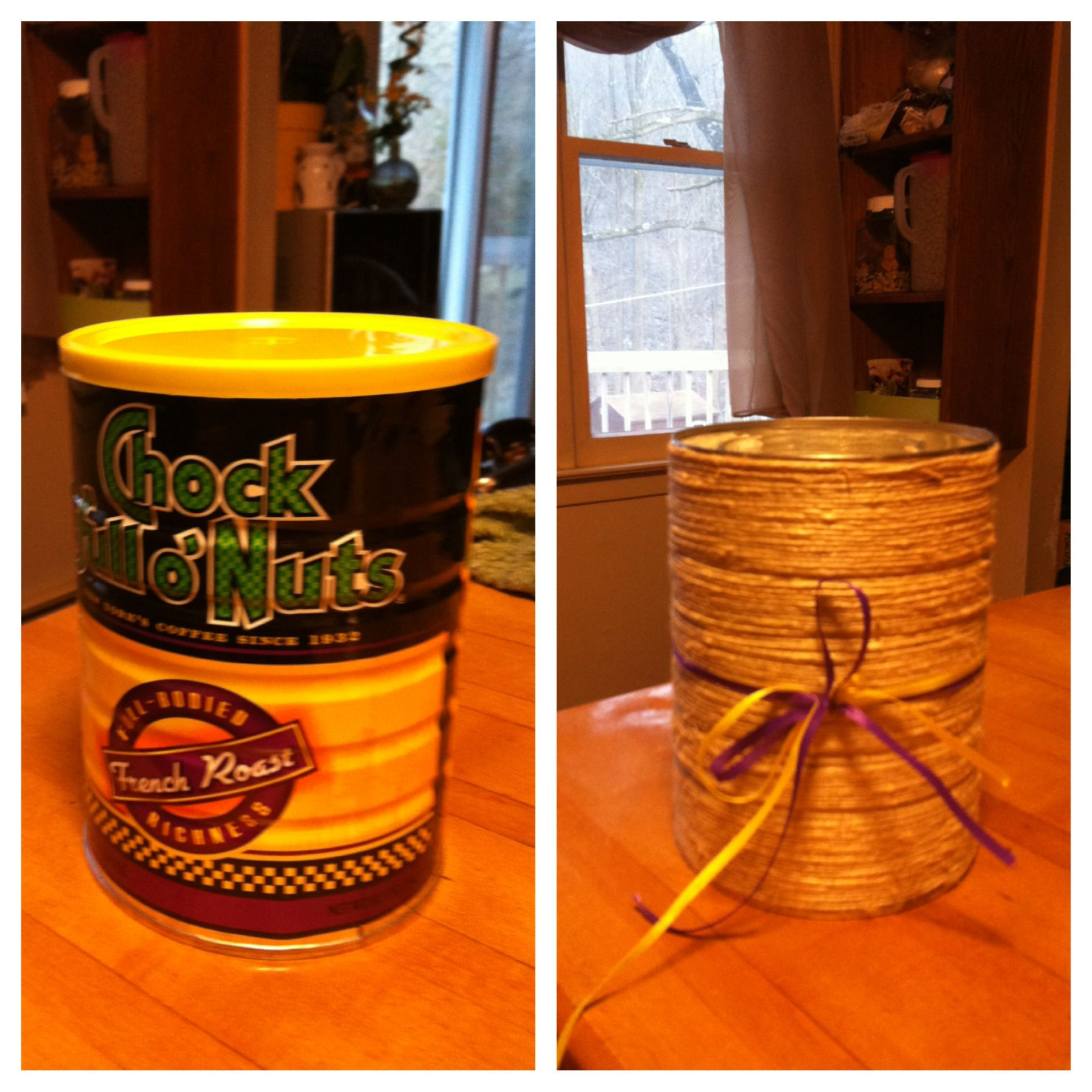 Coffee can into twine plant holder Earthy decor, Plant
