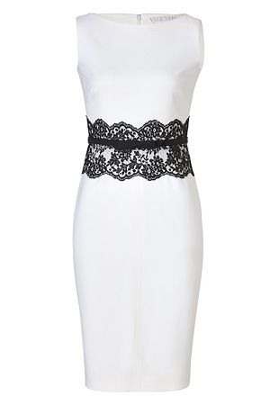ivory belted wool dress with black lace waistvalentino
