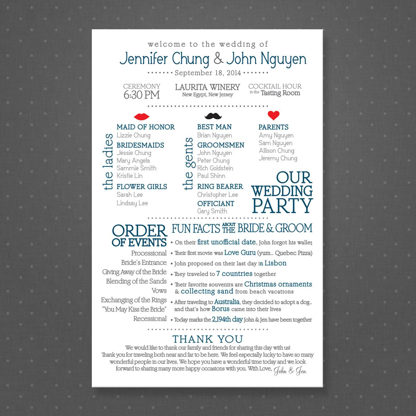 Ceremony And Reception Gap: Printable Wedding Program Fun Facts About Bride By