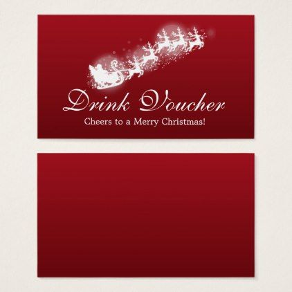 Christmas Drink Voucher Santa Red Business Card - new years eve