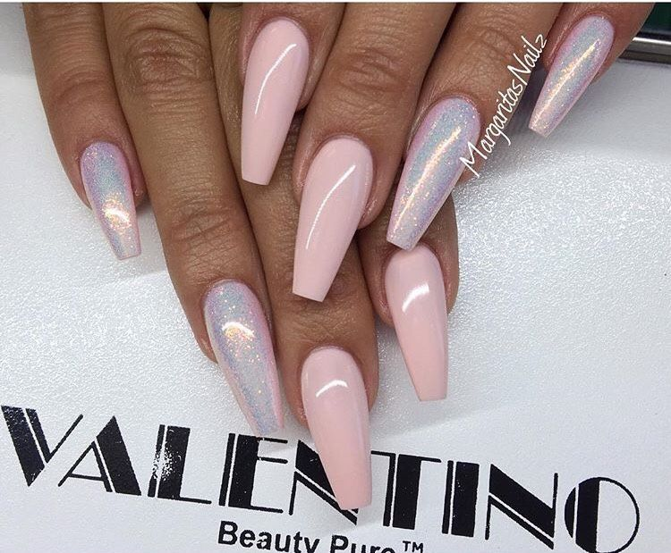 Holographic Trend Baby Pink Holographic Silver Long Coffin Nails Such A Lovely Manicure Which Easily Coordinate Pink Nails Holographic Nails Chrome Nails
