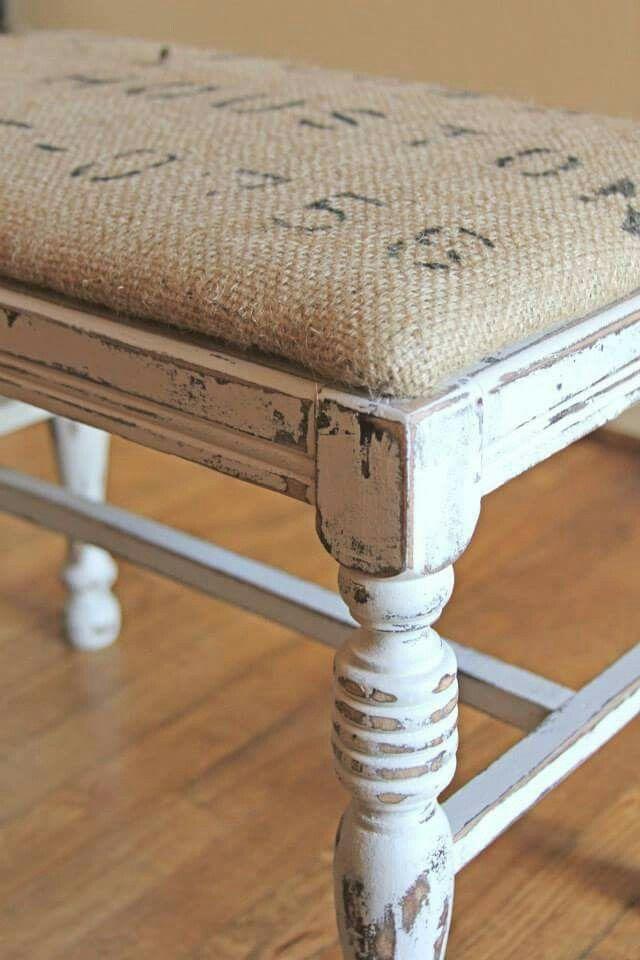 Vanity Stool Diy Stool: Vanity Stool Upholstered With Burlap Coffee Sack