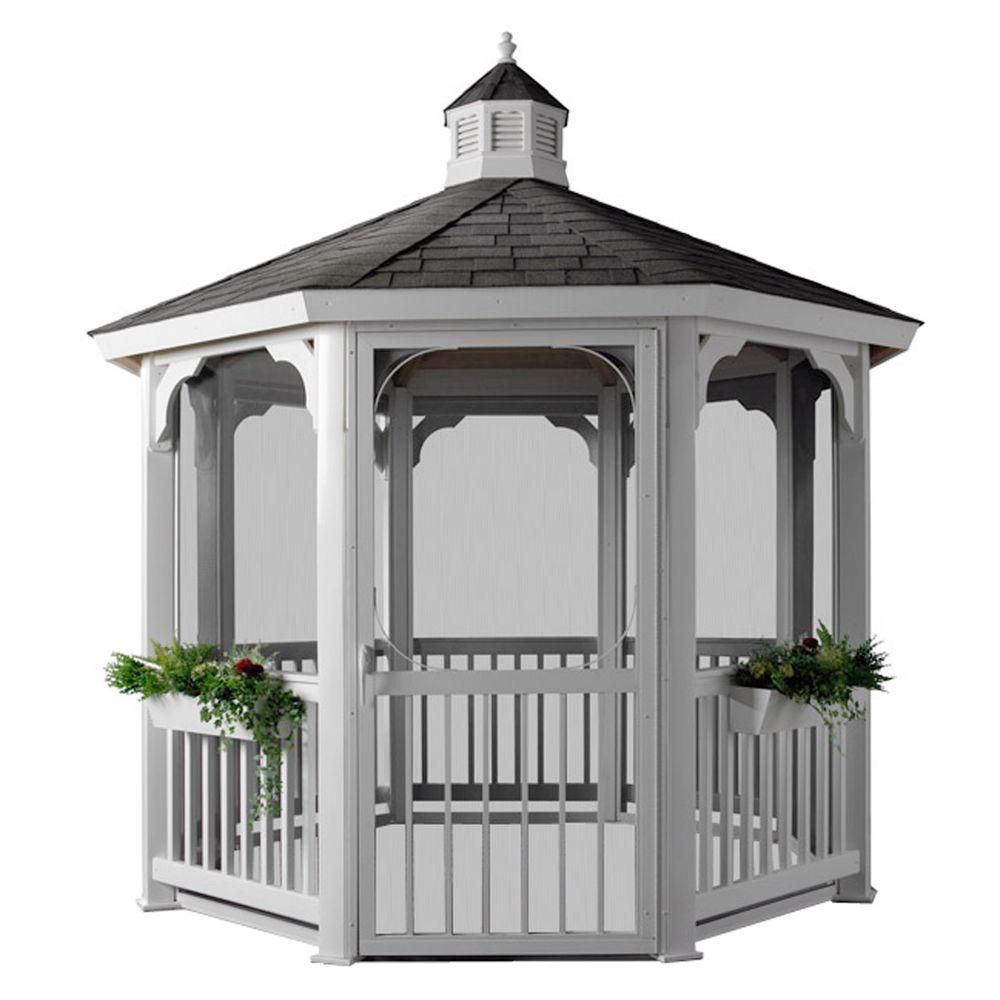 HomePlace Structures 10 ft. Octagon Vinyl Gazebo with ...
