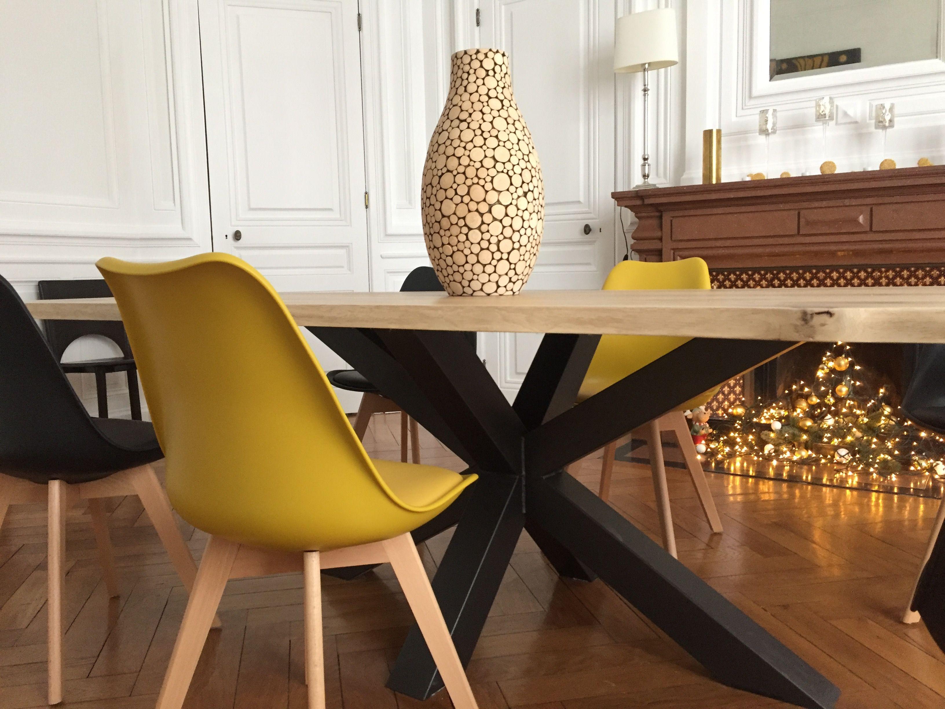 Table En Bois Chene Clair table bois métal pied central - design industriel - création