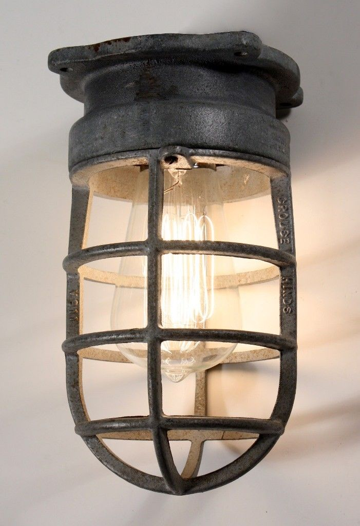Antique Industrial Cage Light Fixture For Wall Or Ceiling Signed