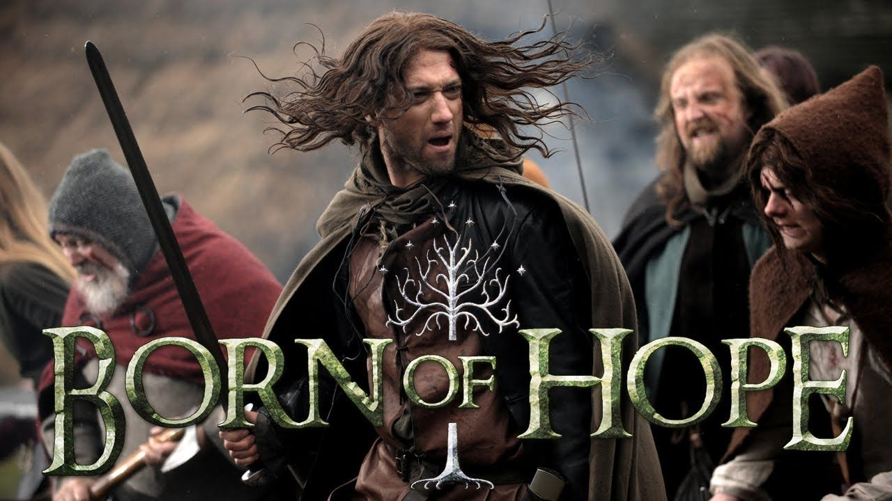 ᗷOᖇᑎ Oᖴ ᕼOᑭE (70 min) An independent feature film inspired by the Lord of the Rings and produced by Actors at Work Productions in the UK.   A scattered people, the descendants of storied sea kings of the ancient West, struggle to survive in a lonely wilderness as a dark force relentlessly bends its will toward their destruction. Yet amidst these valiant, desperate people, hope remains. A royal house endures unbroken from father to son. (2009) 720 HD Genre;  Action   Adventure   Fantasy…