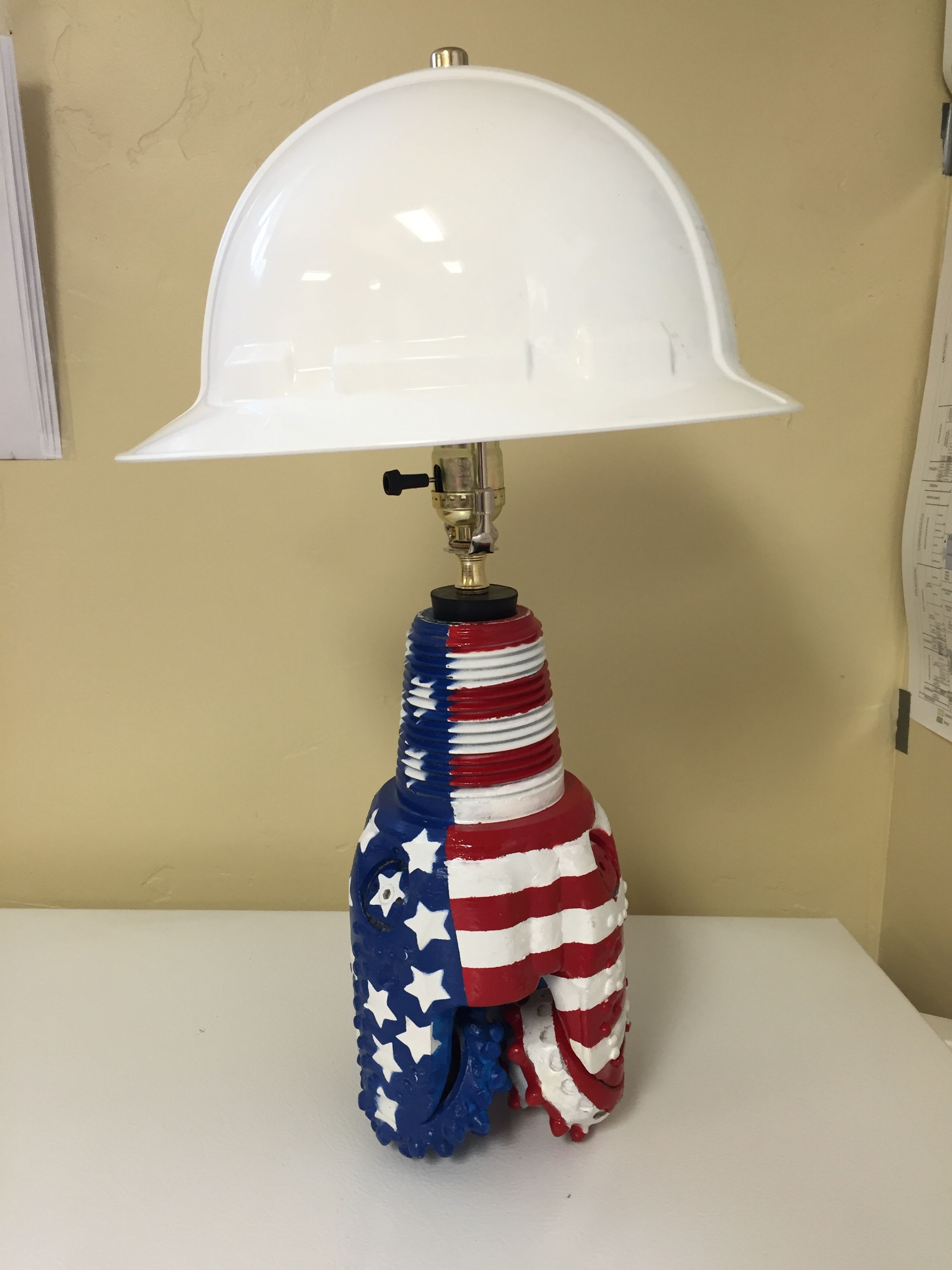 Rotary Tricone Drill Bit Lamp With Hard Hat And American Flag Paint Job Oilfield Art Steampunk Lighting American Flag Painting Steampunk Lamp