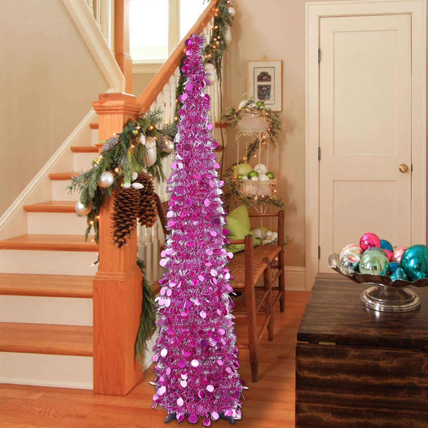 Macting 5ft Pop Up Christmas Tinsel Tree With Stand Easyassembly