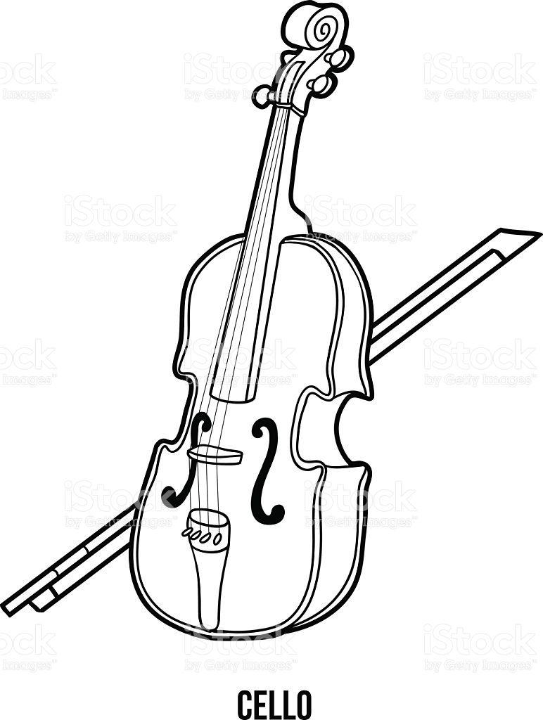 Resultado De Imagen Para Dibujo Para Colorear De Cello Instrumentos Musicais Instrumentos Musica
