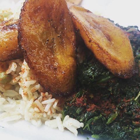 Vegan New Orleans On Instagram Vegan Jama Jama Ni Makondo Sauteed Spinach Fried Ripe Plantains And Coconut Rice Ripe Plantain Sauteed Spinach Coconut Rice