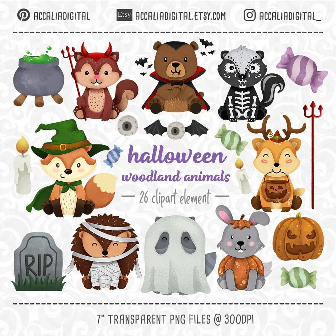 Etsy Shop Halloween Woodland Animals Clipart Horror Animal Clip Art Fox Forest Friends Sticker Animal Halloween Animals Woodland Clipart Animal Clipart