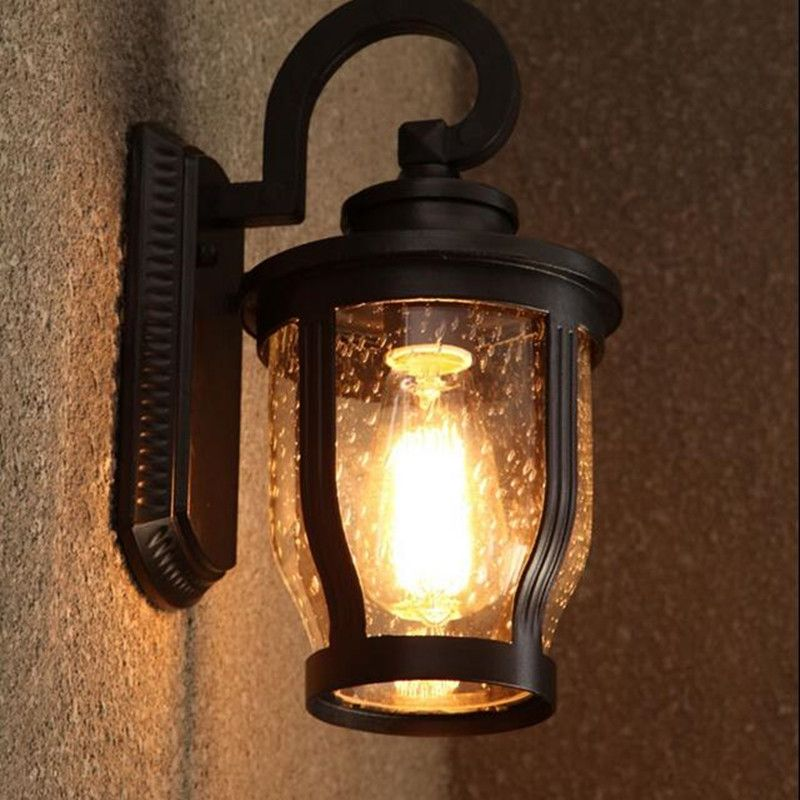 Loft Antique Waterdrops Waterproof Design Light Shade Wall Sconce