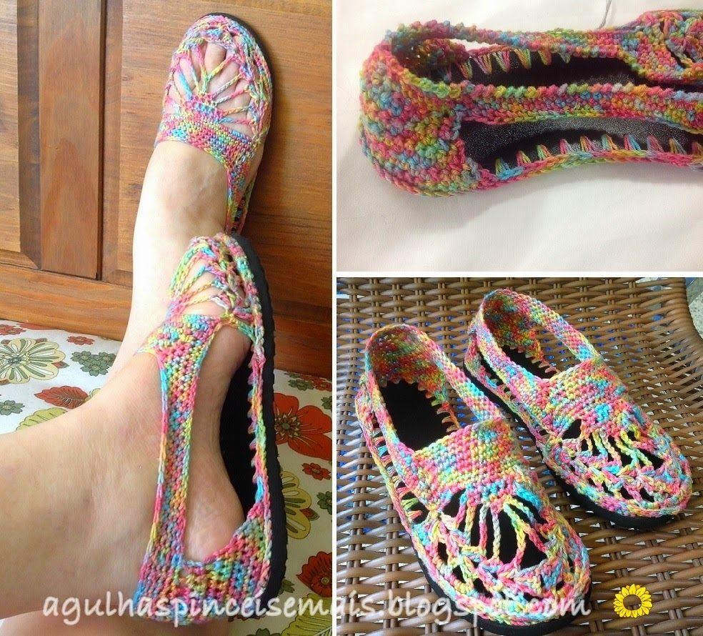 Sandalias de rejillas en crochet tutorial - Patrones Crochet ...