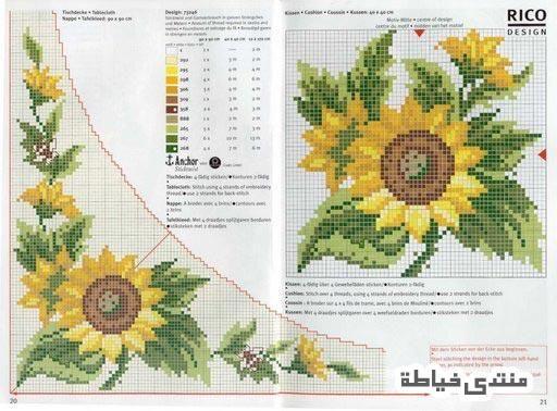 مفارش مطرزة باترونات جميلة للتطريز مطرزات متنوعة شغل ايتامين Cross Stitch Sunflower Cross Stitch Flowers Floral Cross Stitch