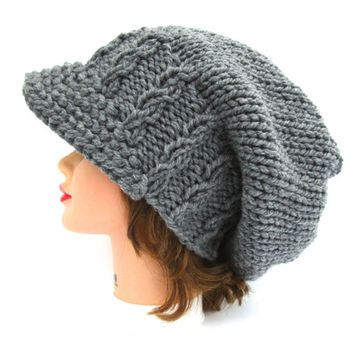 Gray Newsboy Hat - Baby Cable Knit Cap - Women's Slouchy Hat With Brim - Brimmed Beanie - Chunky Cap - Unisex Hat - Knit Accessories