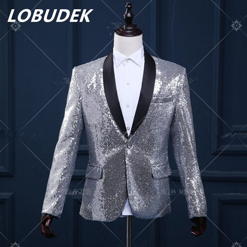 New Mens Suit Coat Sequins Bling Bling Dress Formal Jacket Bar Stage Cosplay 3XL
