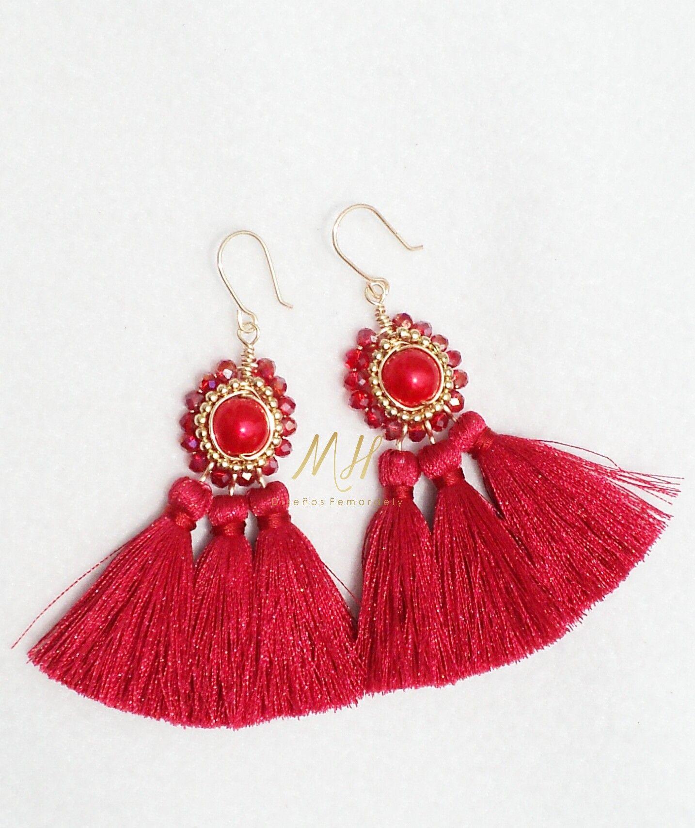 revisa 083de 163db Aretes rojos tassel cristale, joyería artesanal, hecho a ...