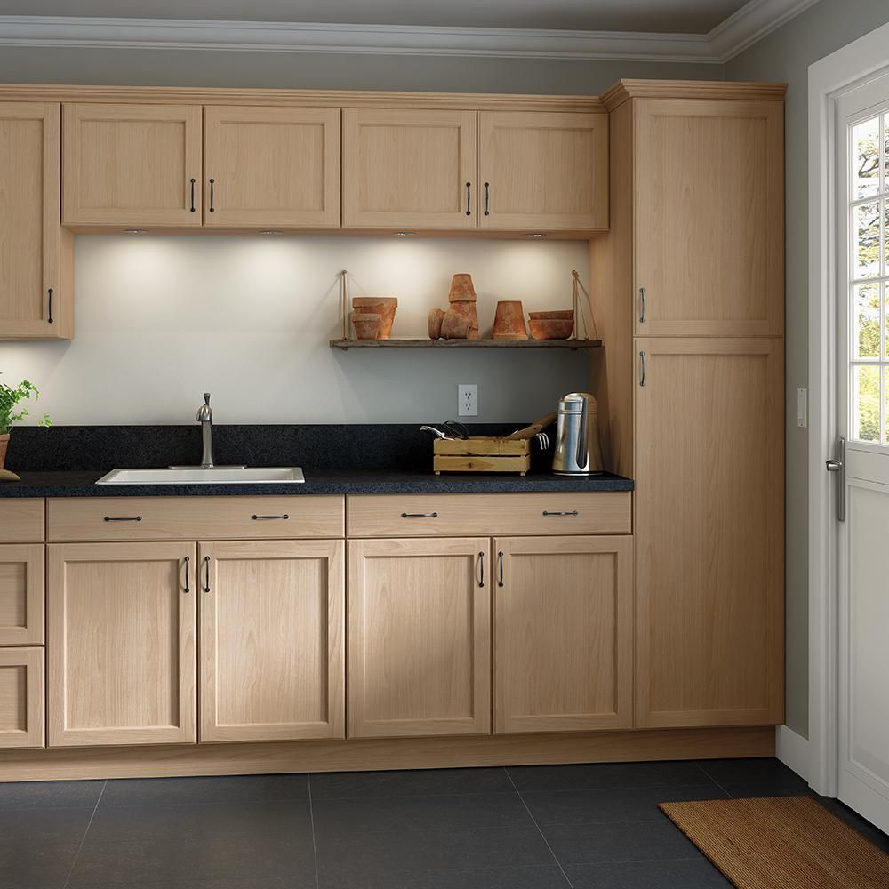 Hampton Bay Assembled 27x34 5x24 In Easthaven Base Cabinet With Drawer In Unfinished Ge Unfinished Kitchen Cabinets Beech Kitchen Cabinets Unfinished Cabinets