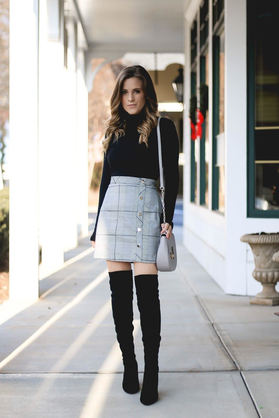 cute plaid mini skirt with over the knee boots and turtleneck. Ny Fashion,  Fashion 647d2c780b