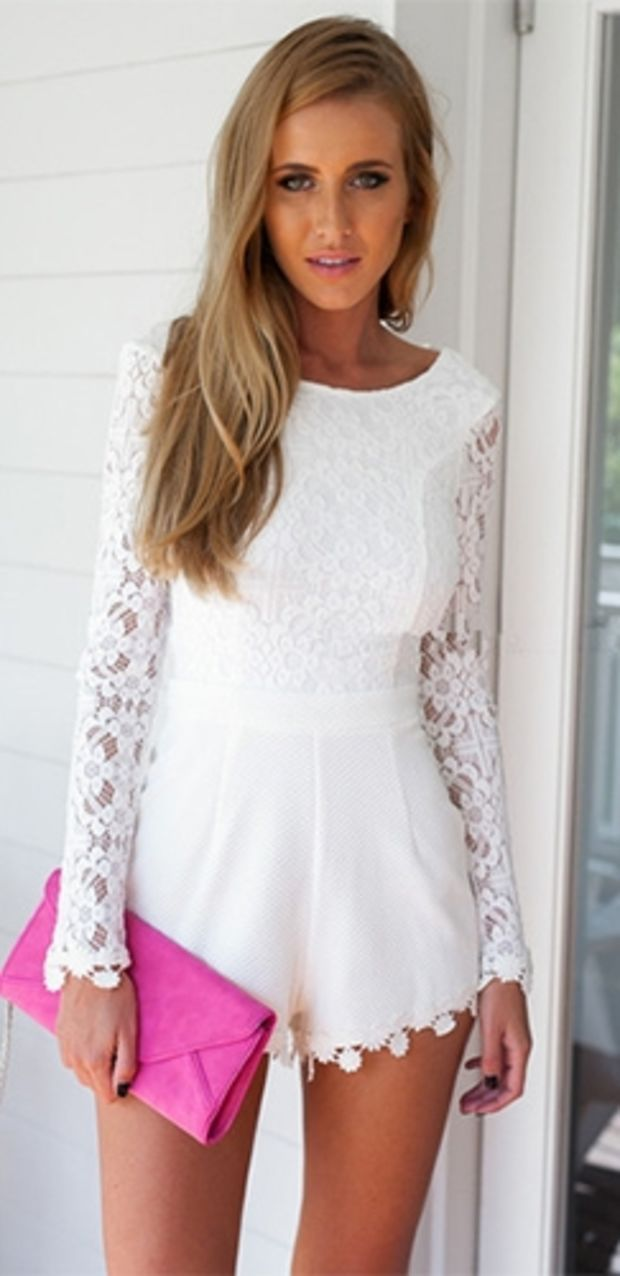 c92503793f48 You Earned It White Lace Long Sleeve Boat Neck Scoop Back Floral Trim Short  Romper