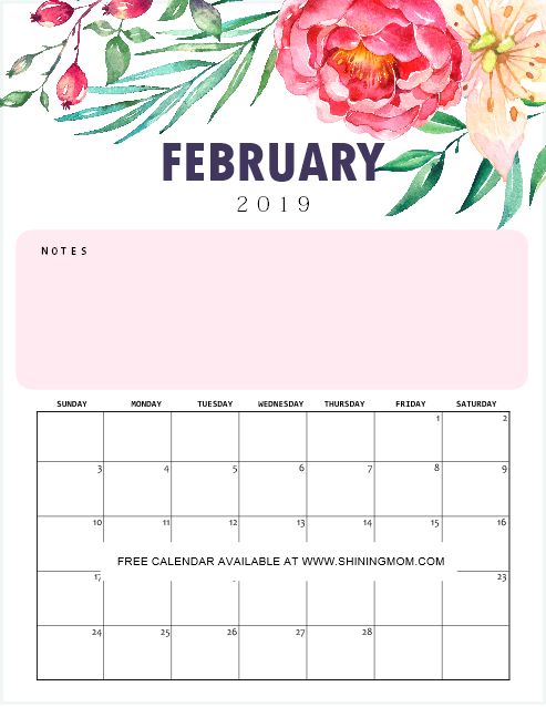 Pretty Calendar 2019 Printable February FREE Printable Calendar 2019 with Notes in Pretty Florals! | Free