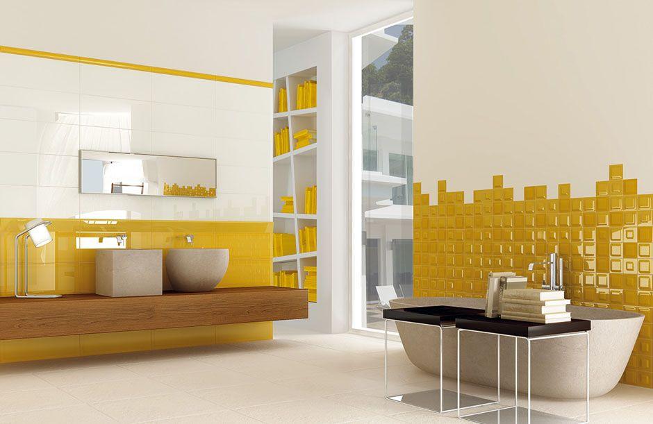 Revêtement mural de salle de #bain en faïence de couleur #jaune et ...
