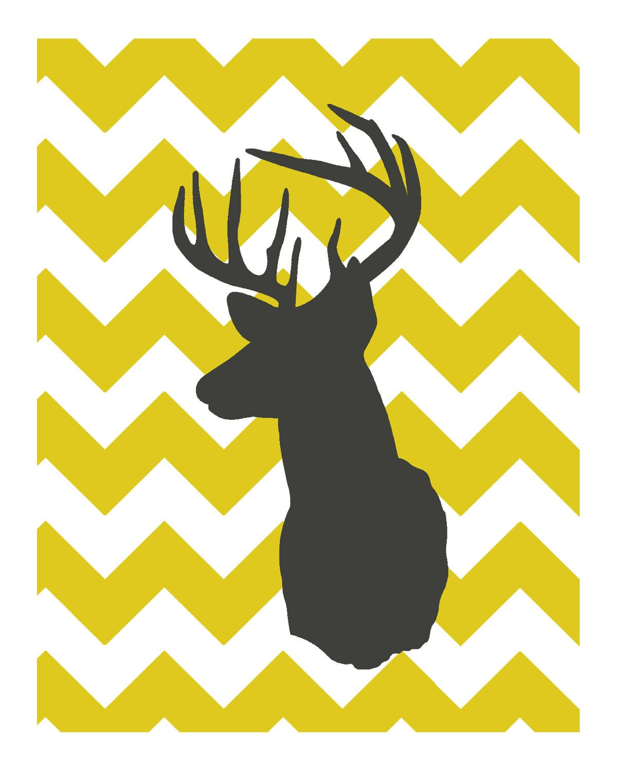 8x10 Digital Print of Deer Silhouette in Charcoal with Mustard Yellow  Background. $12.00, via