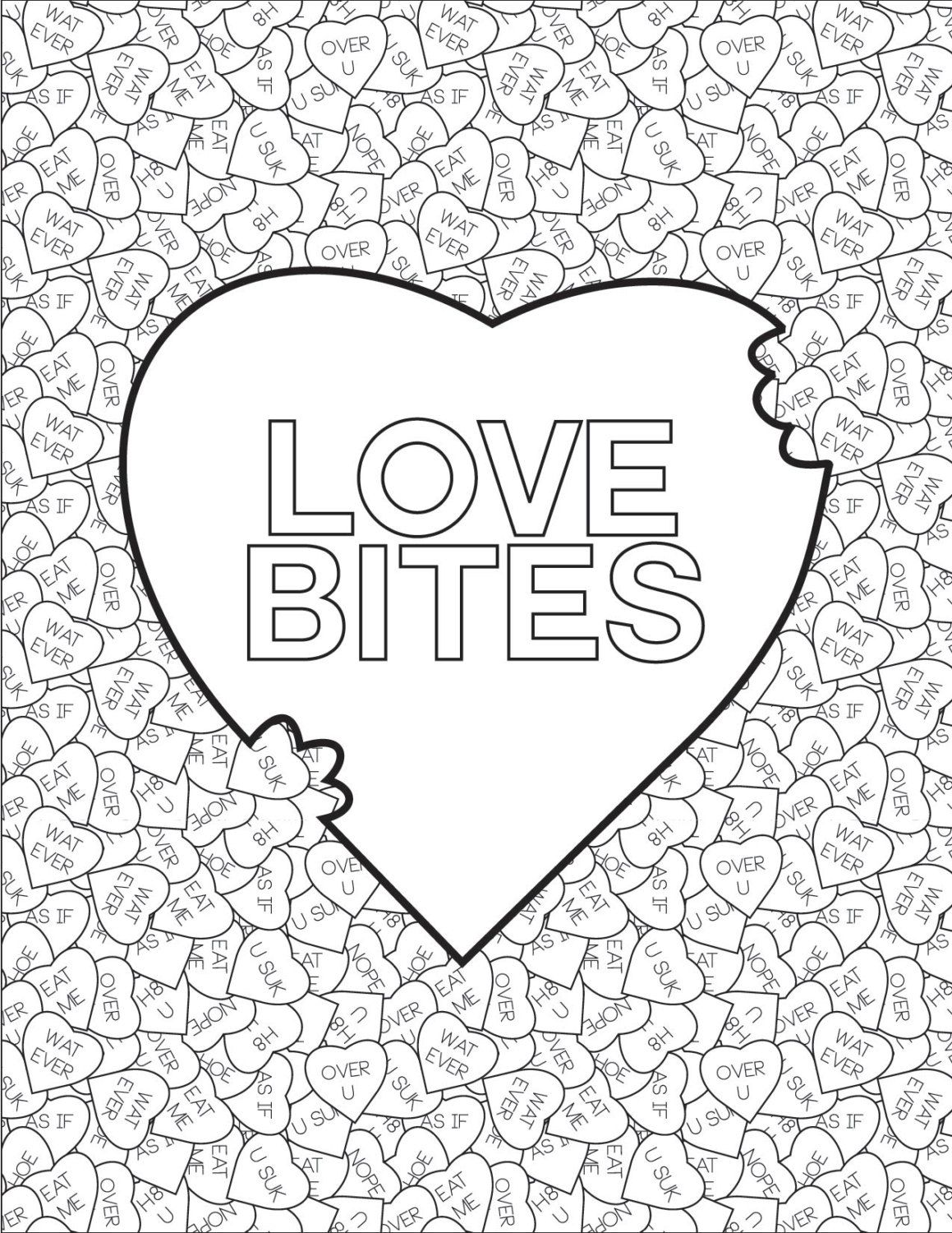Adult Coloring Book Page: Love Bites by btchcraft on Etsy