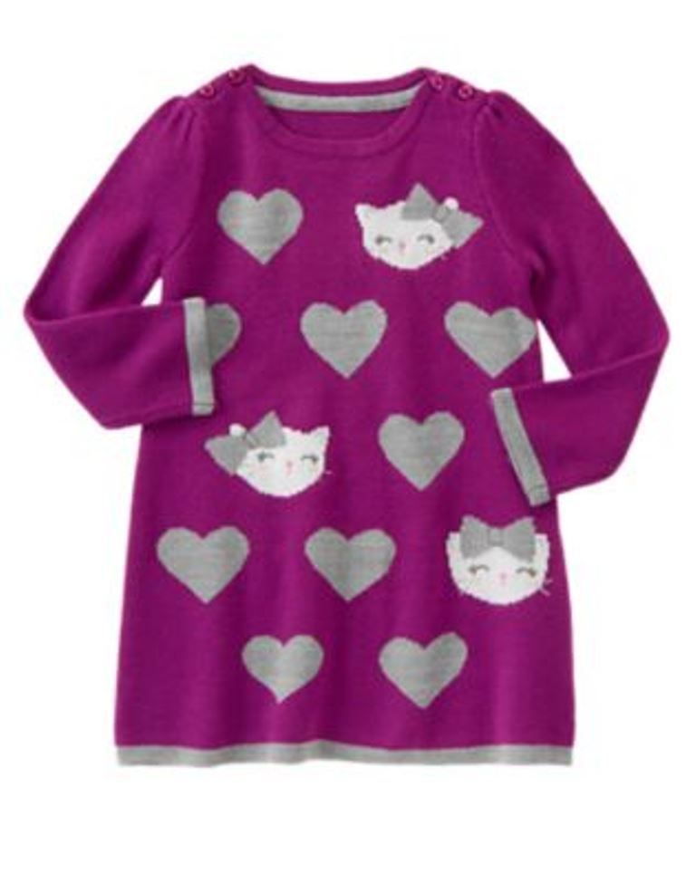1015 NWT Gymboree Sweater Weather Purple Sweater Dress Size 3T Cat ...