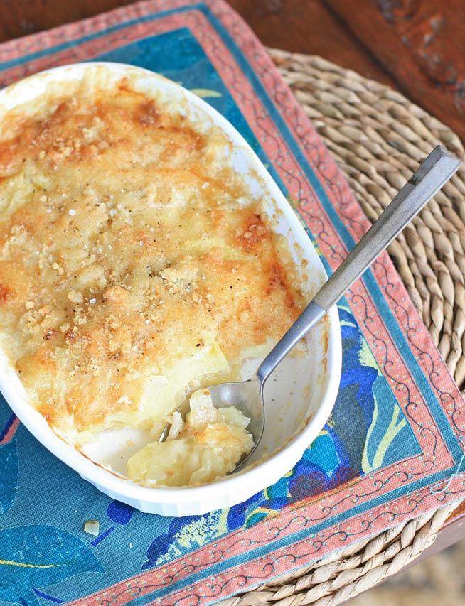 Masala Panir Alu- Scalloped Potato Gratin with Herbs and Swiss | Girl Cooks World