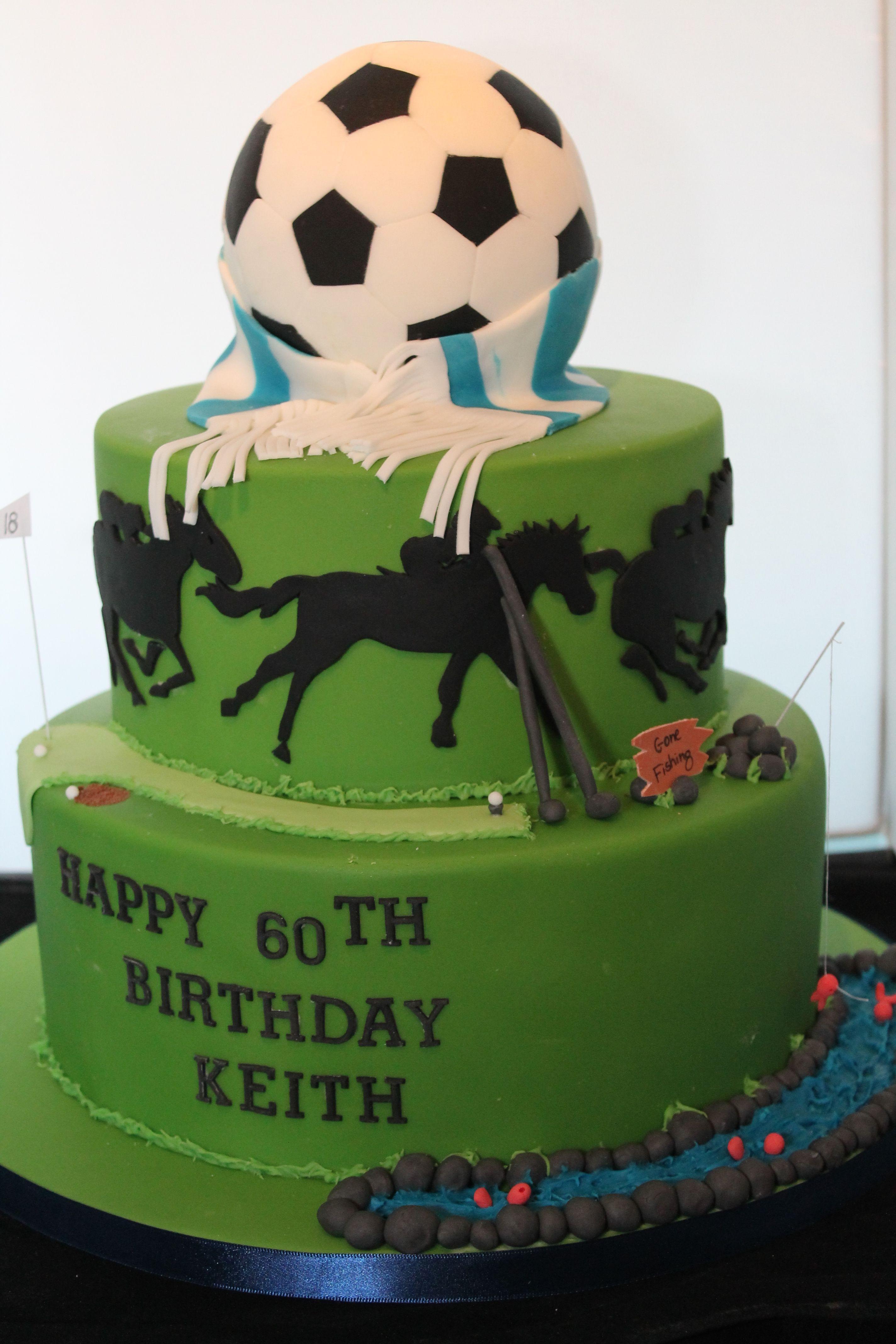 Football HorseRacing and Fishing Birthday Cake www