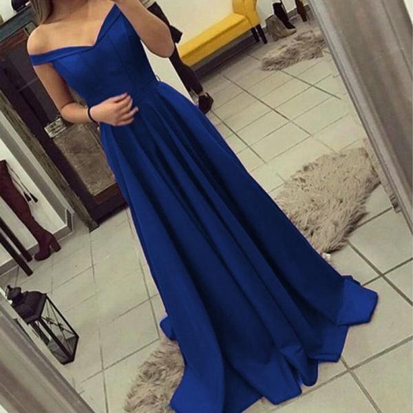 Ulass Eleg Glamour A-Line Prom Dresses ,V Neck Bridesmaid Dress,Off Shoulder Bridesmaid Dress,Long Satin Gowns,Graduation Dress