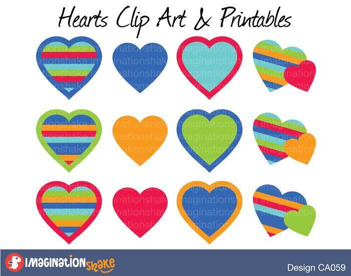 Rainbow Hearts Valentine\'s Day Clip Art & Printables Set / Love ...