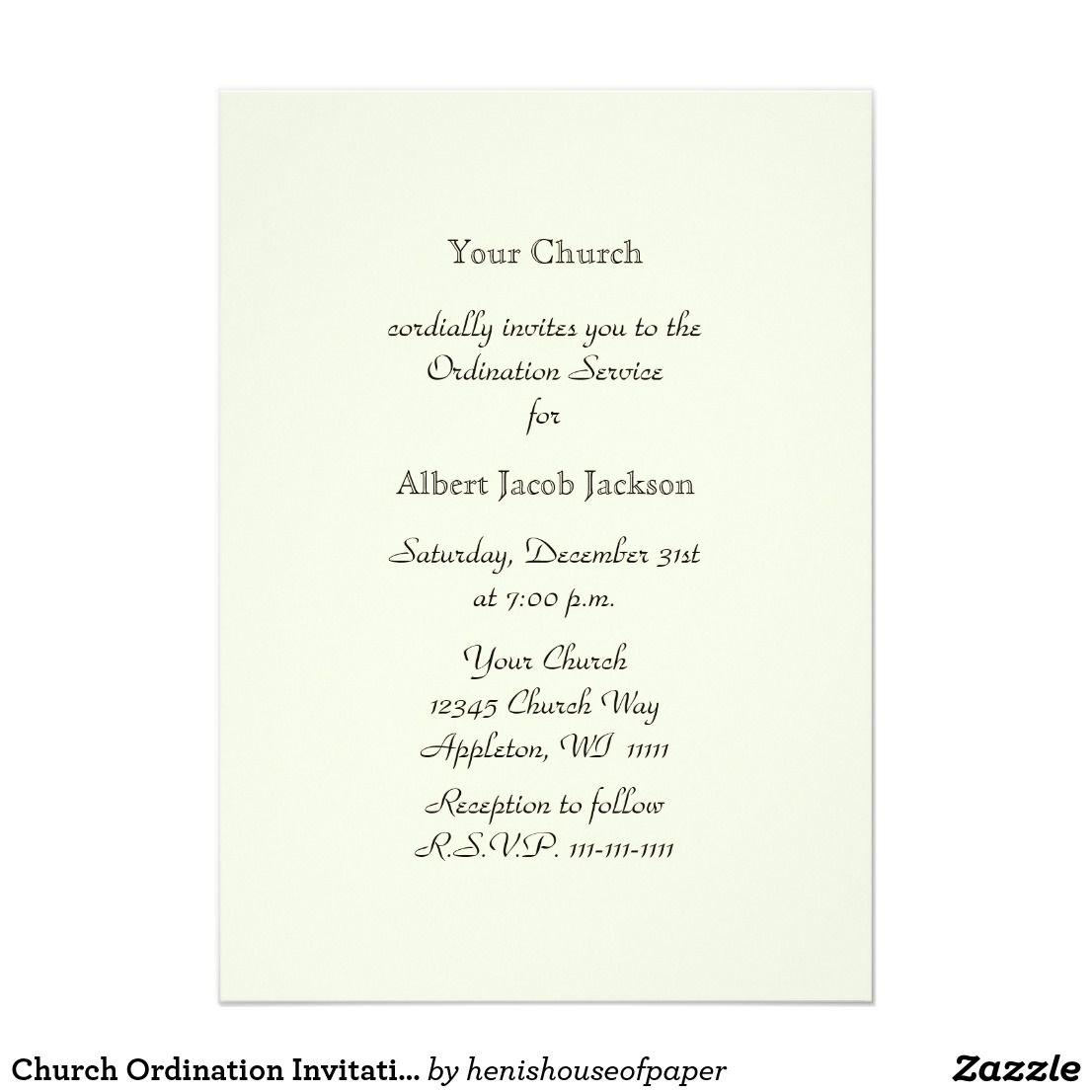 Church Ordination Invitation Cross Dove Invitations Invitations