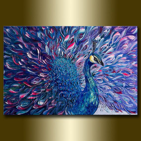 Peacock Modern Animal Art Painting Textured Palette Knife