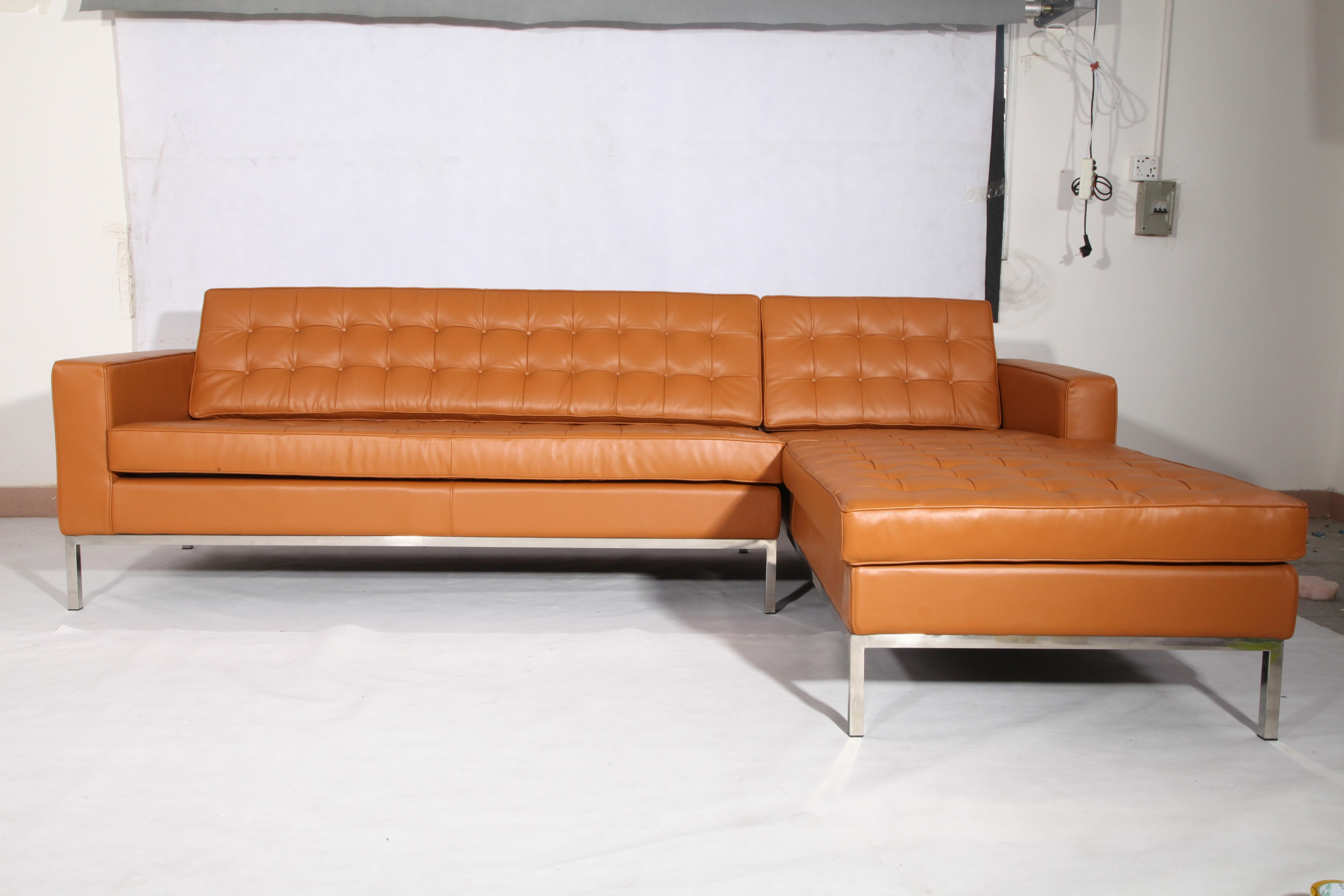 Brown Aniline Leather Florence Knoll Corner Sofa Replica For Sale