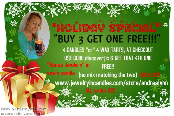 www.jewelryincandles.com/store/andrealynn  ORDER BY DEC 1ST TO ENSURE CHRISTMAS DELIVERY!!!