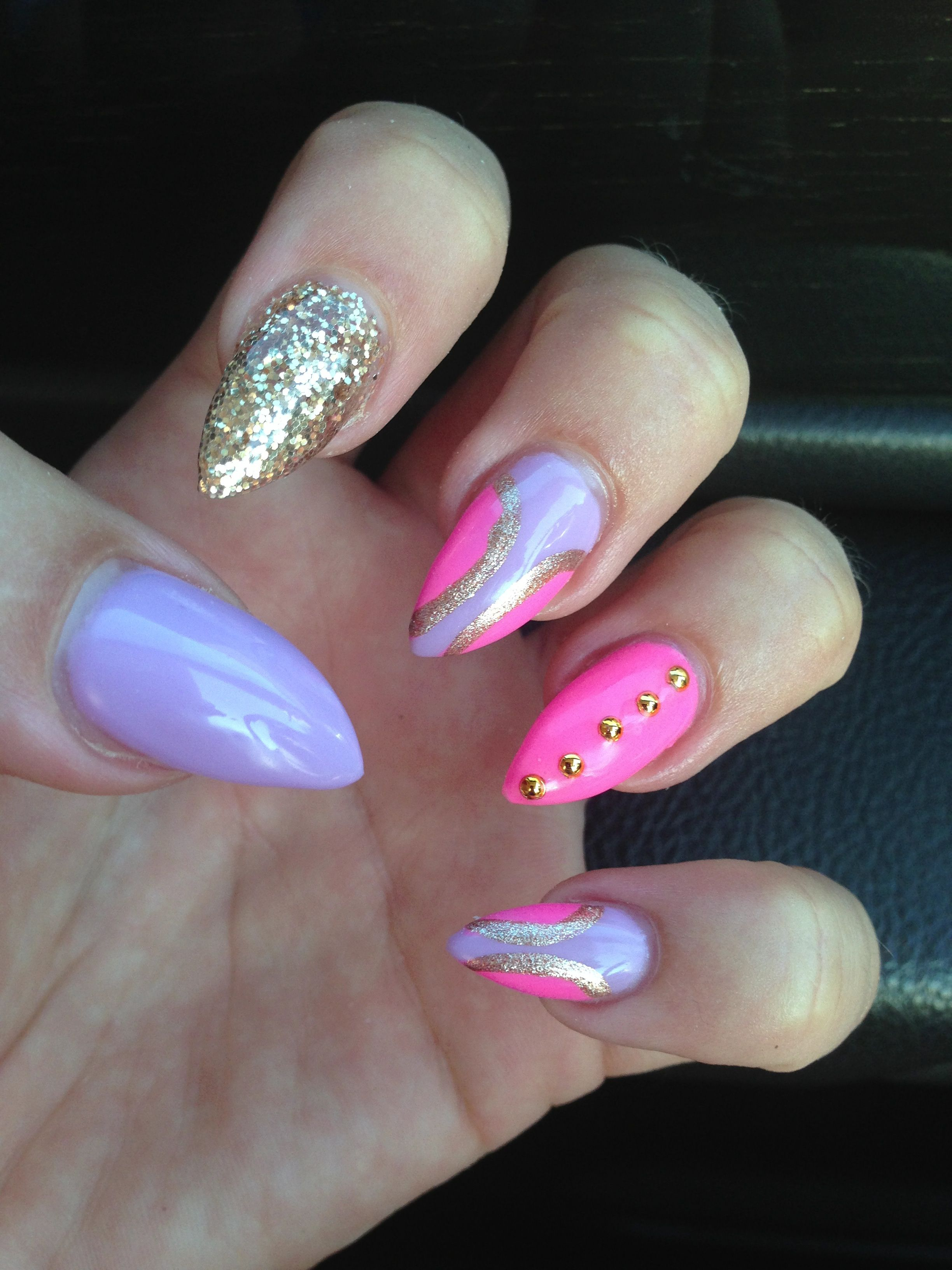 Vegas Pointy Nails Pink And Purple !!!!