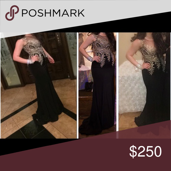 Black mermaid prom dress Long evening gown. Black with mesh and gold beading. No alterations. Size 10 but fits like a 6. Perfect condition. Worn once. Dresses Prom