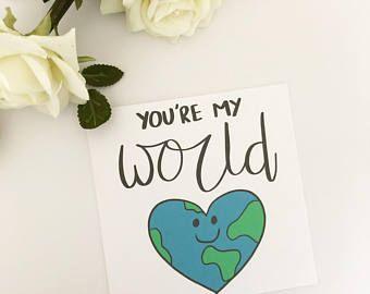 Funny Valentine card, Cute Valentine's card, Pun card, Valentine's card, You're my world, Boyfriend, Girlfriend, Partner