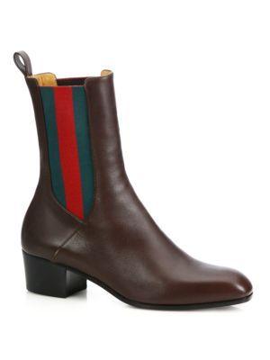 Gucci - Karen Stripe Leather Booties