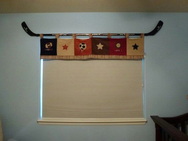 Two Hockey Sticks In Place Of A Boring Curtain Rod For Our Sports Themed Nursery Hockey Nursery Sports Nursery Theme Sports Themed Room