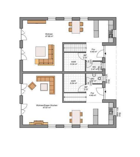 Kowalski Haus Doppelhaushälfte Leo-Nardo 125 Grundriss EG